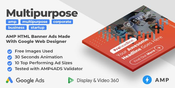 Startup - Multipurpose Animated AMP HTML Banner Ad Templates (GWD, AMP)
