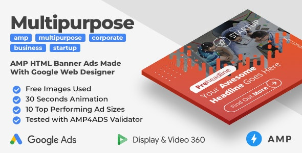 Startup - Multipurpose Animated AMP HTML Banner Ad Templates (GWD, AMP) - CodeCanyon Item for Sale