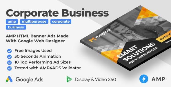 Megabiz - Multipurpose Corporate Business Animated AMP HTML Banner Ad Templates (GWD, AMP)
