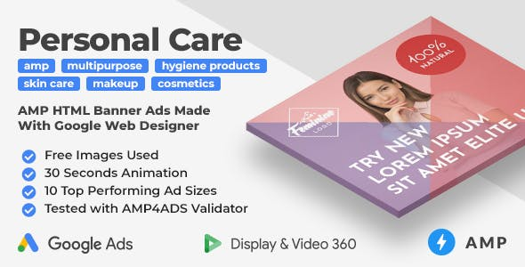 Feminine - Personal Care Animated AMP HTML Banner Ad Templates (GWD, AMPHTML)