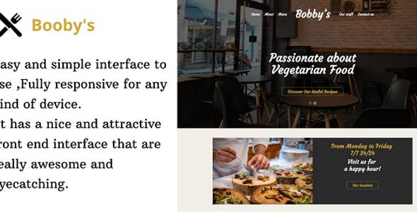 Bobby's - Responsive Online Restaurant landing page