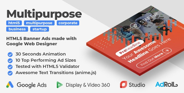 Startup - Multipurpose HTML5 Banner Ad Templates (GWD, anime.js) - CodeCanyon Item for Sale
