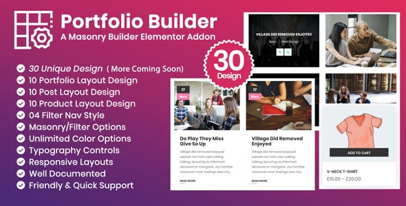 Portfolio Builder - Post/Product/Portfolio Masonry Filter Elementor Addon  Plugin - CodeCanyon Item for Sale