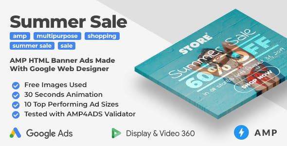 Summer Sale - Shopping Animated AMP HTML Banner Ad Templates (GWD, AMP)