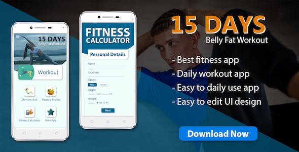 15 Day fat burn workout & diet plan app