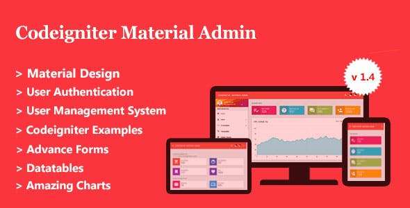 Codeigniter Material Admin + User Management System