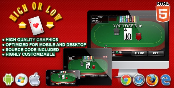 High or Low - HTML5 Casino Game - CodeCanyon Item for Sale