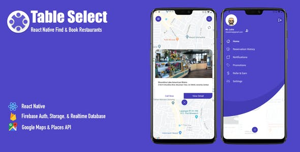 Table Select | React Native Find & Book Restaurants