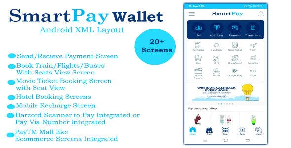 SmartPay Wallet :- Android XML Screens Layout