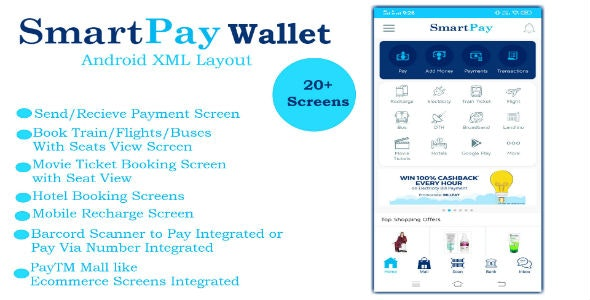 SmartPay Wallet :- Android XML Screens Layout - CodeCanyon Item for Sale