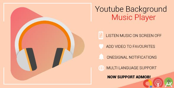 Youtube Background Music Player With Admob and Push Notifications