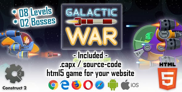 Galactic War - HTML5 Construct 2 Game (.capx)
