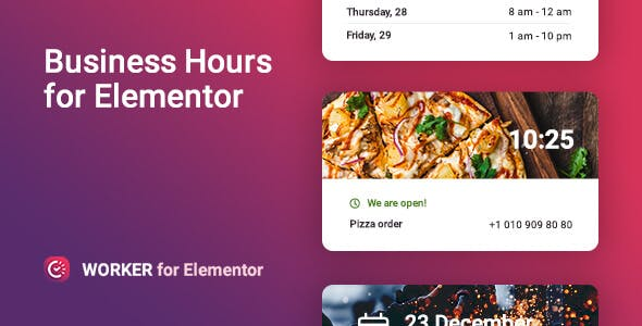 Business hours widget for Elementor – Worker