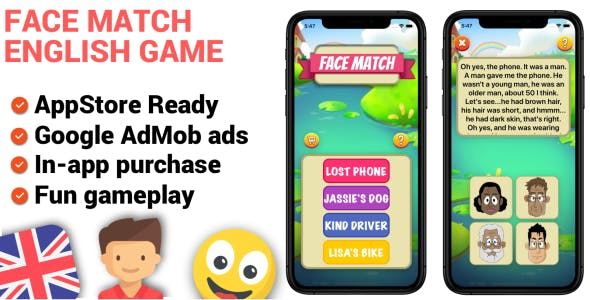 Face Match iOS English Learning Game