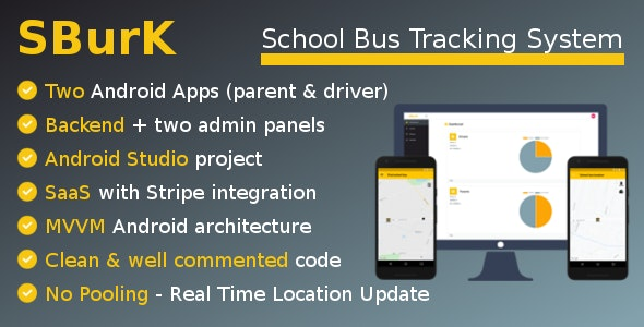 SBurK - School Bus Tracker - Two Android Apps + Backend + Admin panels - SaaS - CodeCanyon Item for Sale
