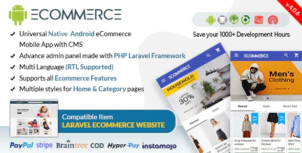 Android Ecommerce - Universal Android Ecommerce / Store Full Mobile App with Laravel CMS