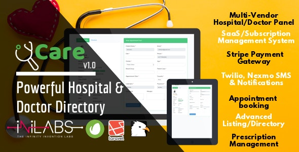 iCare - Powerful Hospital & Doctor Directory - CodeCanyon Item for Sale
