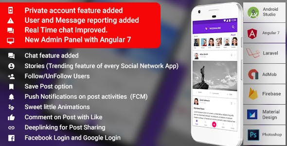 Social Media Android App with Admin | PHP Backend | WeShare