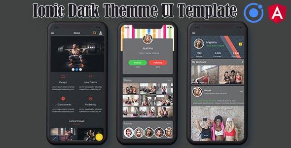 Ionic 5 / Angular 8 Dark UI Theme / Template App | Starter App