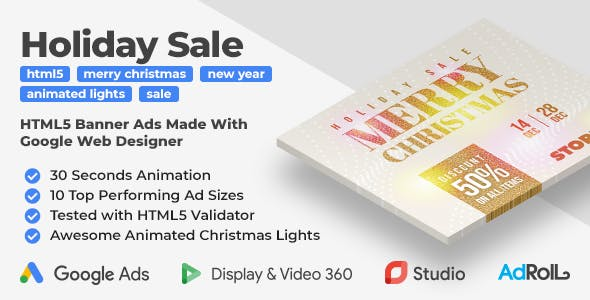 Holiday Sale HTML5 Banner Ad Templates (GWD)