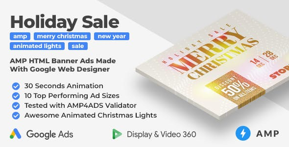 Holiday Sale AMP HTML Banner Ad Templates (GWD, AMP)