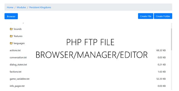 PHP FTP File Browser / Manager / Editor