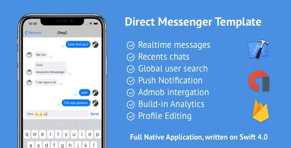 Direct iOS Messenger Template + Firebase + AdMob