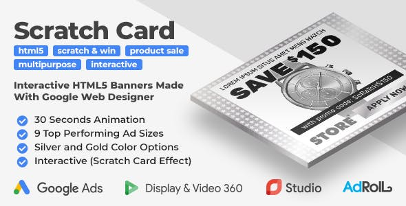 Scratch Card - Interactive Product Sale HTML5 Banner Ad Templates (GWD)