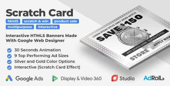 Scratch Card - Interactive Product Sale HTML5 Banner Ad Templates (GWD) - CodeCanyon Item for Sale