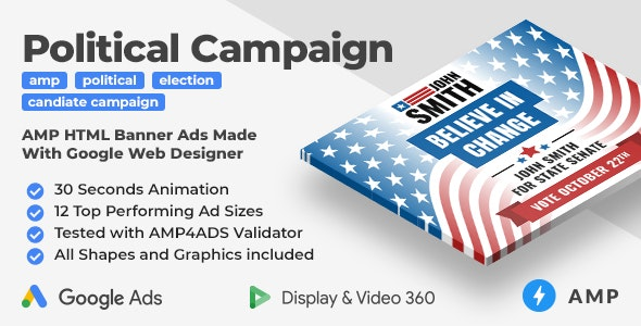The Candidate - Political Campaign Animated AMP HTML Banner Ad Templates (GWD, AMP) - CodeCanyon Item for Sale