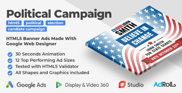 The Candidate - Political Campaign Animated HTML5 Banner Ad Templates (GWD)