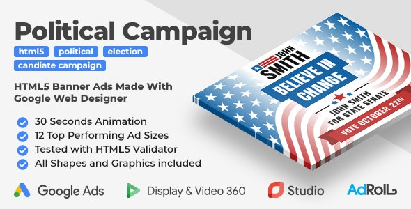 The Candidate - Political Campaign Animated HTML5 Banner Ad Templates (GWD) - CodeCanyon Item for Sale