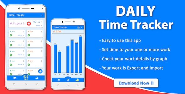 Daily Time Tracker Android App - CodeCanyon Item for Sale