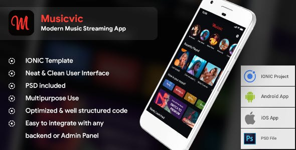 Modern Music Streaming App Template (HMTL + Css) IONIC 4 | Musicvic