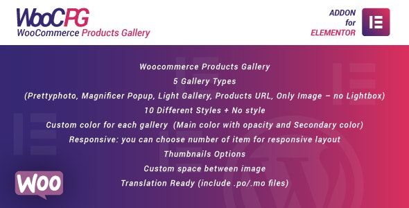 WooCommerce Products Gallery for Elementor WordPress Plugin - CodeCanyon Item for Sale