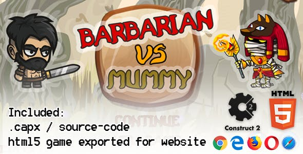 Barbarian VS Mummy HTML5 Platform Game - Construct 2 (.capx + html5 Source-code)