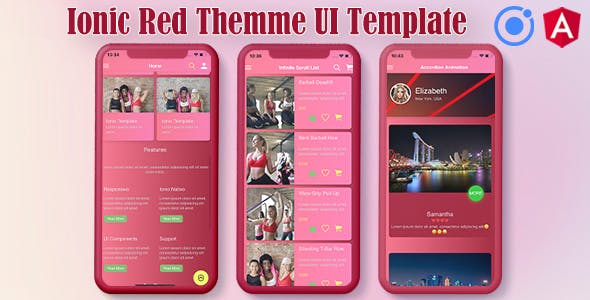 Ionic 5 / Angular 8 Red UI Theme / Template App | Starter App
