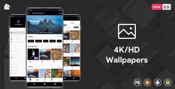 4K/HD Wallpaper Android App ( Auto Shuffle + Gif + Live + Admob + Firebase Noti + PHP Backend) 2.5