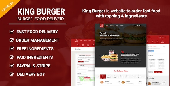 King Burger - Restaurant Food Ordering website with Ingredients In Laravel - CodeCanyon Item for Sale