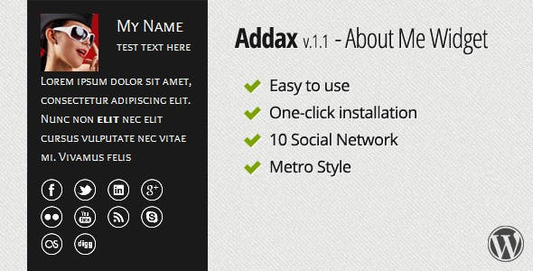 Addax - About Me Widget