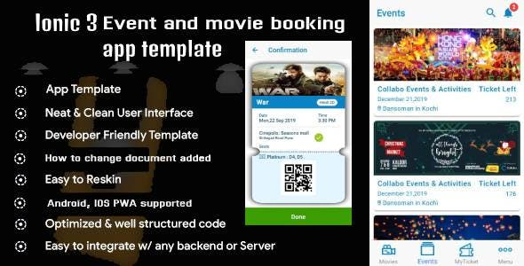 Ionic 3 Event and movie ticket booking app template