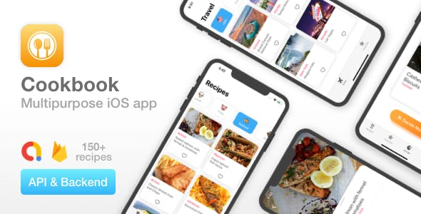 Cookbook - Multipurpose iOS app - Recipes, Travel guide, Classifieds - Uses API & Firebase backend