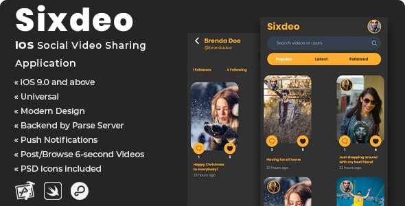 Sixdeo | iOS Social Video Sharing Application - CodeCanyon Item for Sale