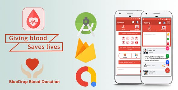 BlooDrop - Blood Donation Android App with Ads