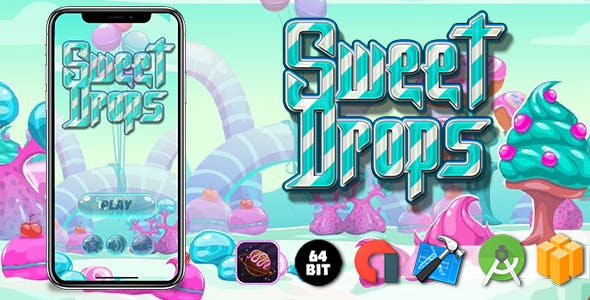 Sweet Drops Android iOS Buildbox Game Template with Admob Ads Integrated