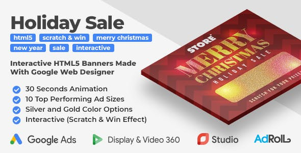 Holiday Sale Interactive HTML5 Banner Ad Templates With Scratch & Win Effect (GWD)