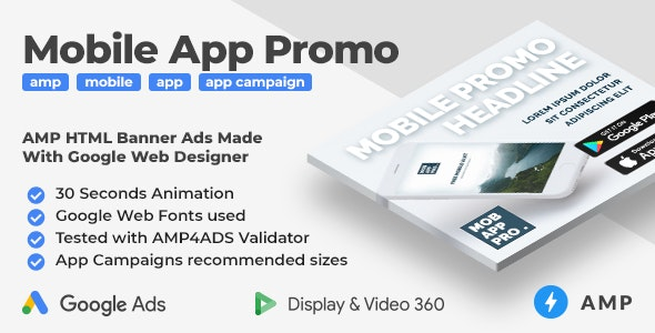 Mobile App Promo - Animated AMP HTML Banner Ad Templates (GWD, AMP) - CodeCanyon Item for Sale