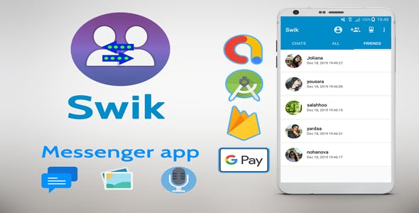 Swik - Android Messenger App with Google Pay In-app Purchase