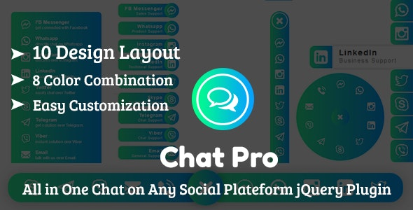 ChatPro - All in One Chat on Any Social Plateform jQuery Plugin - CodeCanyon Item for Sale