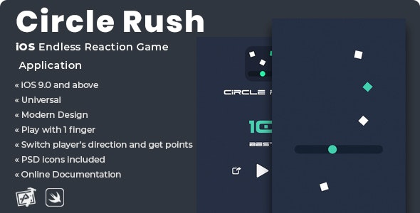 Circle Rush | iOS Endless Reaction Game Application - CodeCanyon Item for Sale